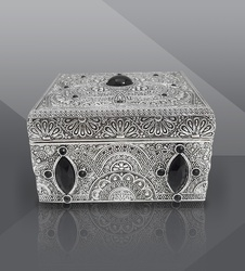 Jewelry Box with Black-Stones Filigree Work Buy Online