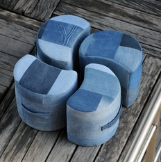 Lunar Luxury Denim Poufs