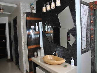 mirror work on black wall