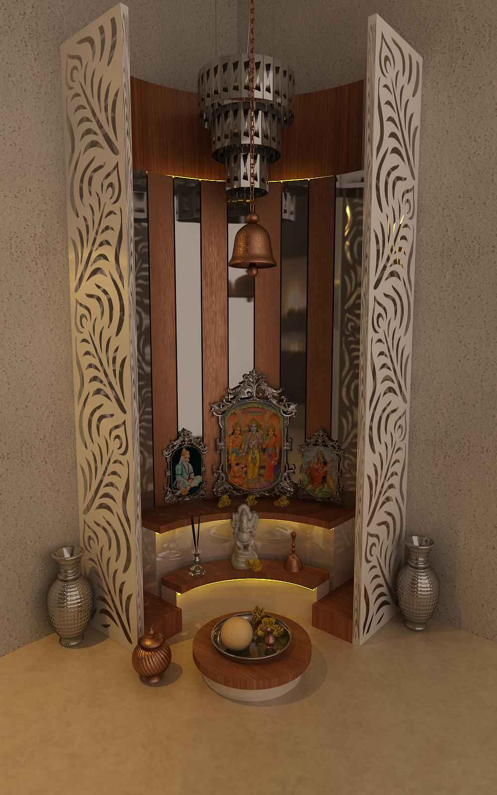 Simple pooja mandir designs pooja mandir room design ideas for home for Design of mandir in living room