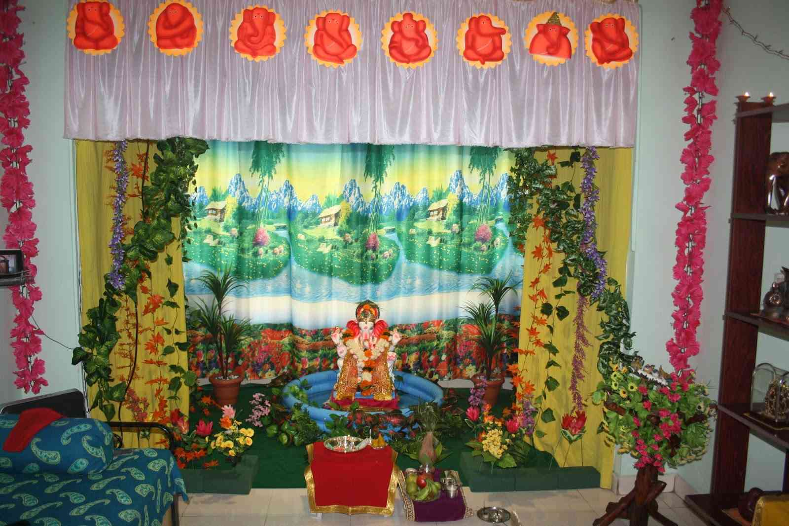 Simple Home Decoration For Ganpati Festival Devotees Welcome Lord
